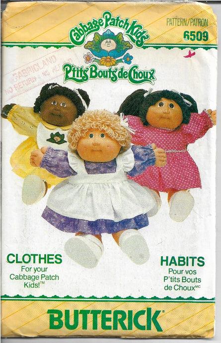 Butterick 6509 Cabbage Patch Kids Dress Pinafore Panties Vintage Sewing Craft Pattern - VintageStitching - Vintage Sewing Patterns