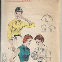 Butterick 7171 Ladies Blouse Vintage 1950s Sewing Pattern - VintageStitching - Vintage Sewing Patterns