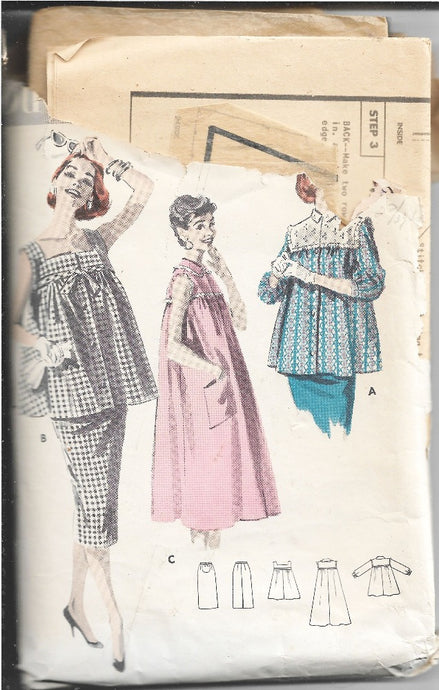 Butterick 8015 Maternity Smock Dress Vintage Sewing Pattern 1950s - VintageStitching - Vintage Sewing Patterns