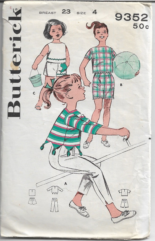 Butterick 9352 Little Girls Shorts Capri Pants Sportswear Vintage Sewing Pattern 1960s - VintageStitching - Vintage Sewing Patterns