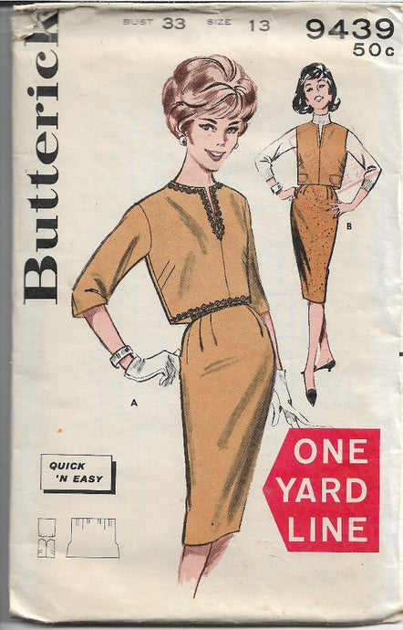 Butterick 9439 Junior Overbloluse Slim Skirt Vintage Sewing Pattern 1960s - VintageStitching - Vintage Sewing Patterns