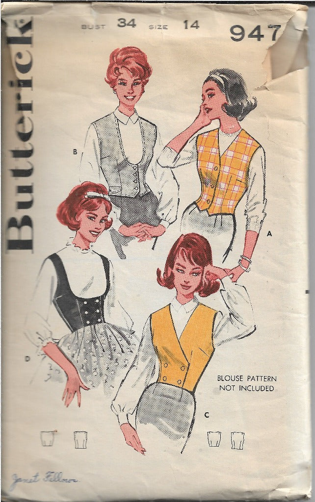 Butterick 9474 Weskit Vest Vintage Sewing Pattern 1950s - VintageStitching - Vintage Sewing Patterns