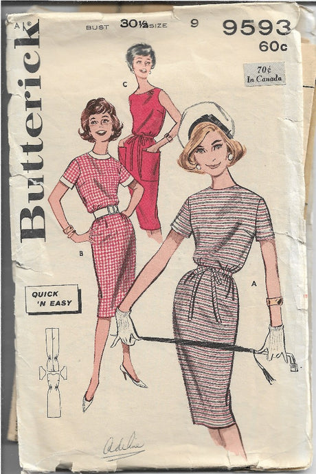 Butterick 9593 Junior Ladies Sheath Dress Vintage Sewing Pattern 1960s - VintageStitching - Vintage Sewing Patterns