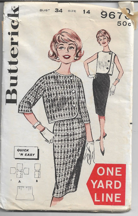Butterick 9670  Ladies Bolero Jacket Slim Skirt Vintage Sewing Pattern 1960s - VintageStitching - Vintage Sewing Patterns