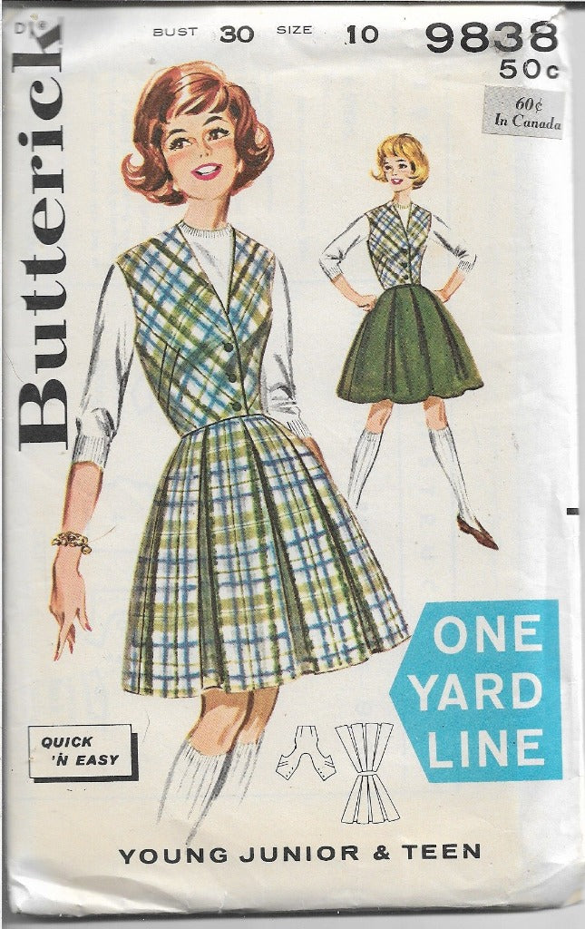 Butterick Teen Knee Knocker Skirt Weskit Vintage Sewing Pattern 1960's - VintageStitching - Vintage Sewing Patterns
