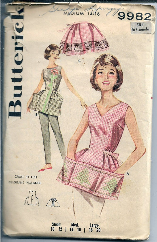 Butterick 9982 Ladies Cobblers Apron Vintage Sewing Pattern 1960s - VintageStitching - Vintage Sewing Patterns
