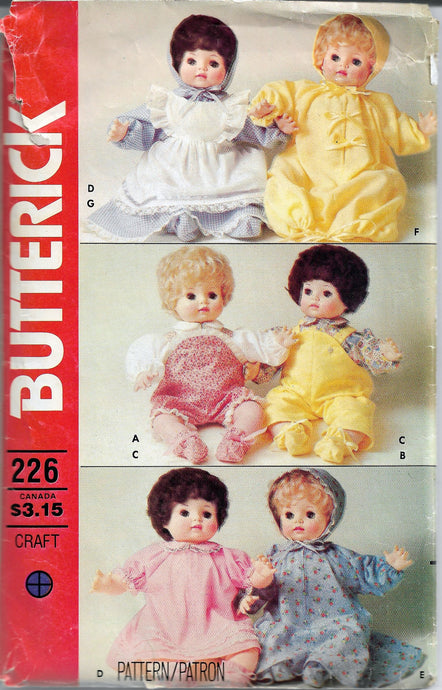 butterick 226 doll craft pattern vintage