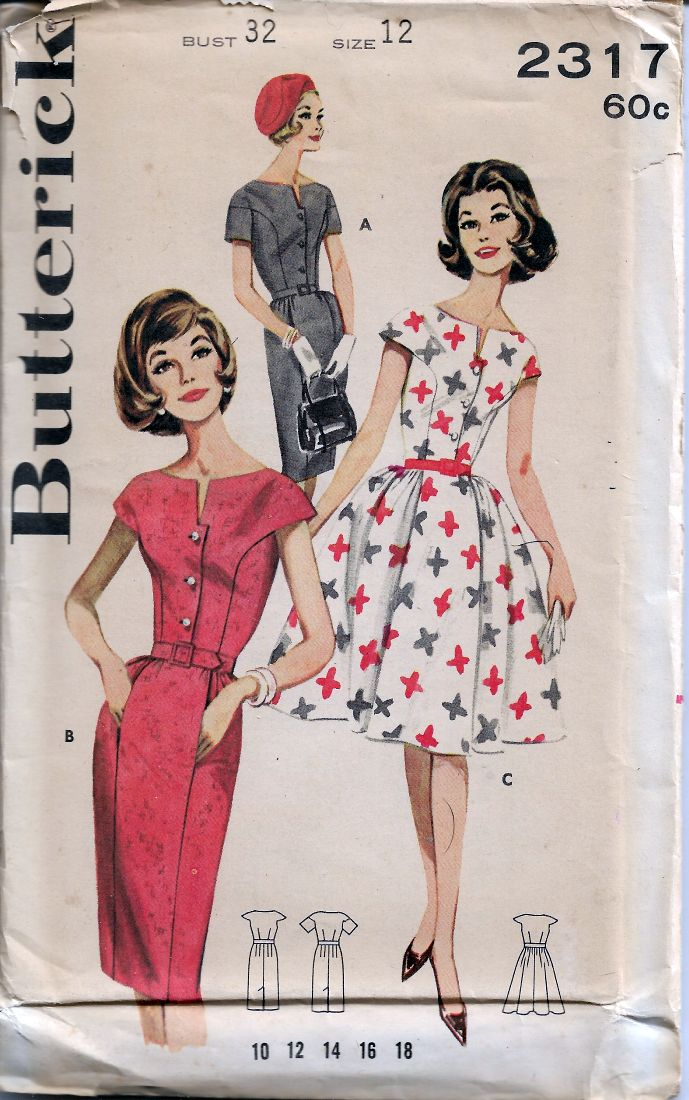 Butterick 2312 Rare Shallow Neck Sheath Dress Vintage Sewing Pattern