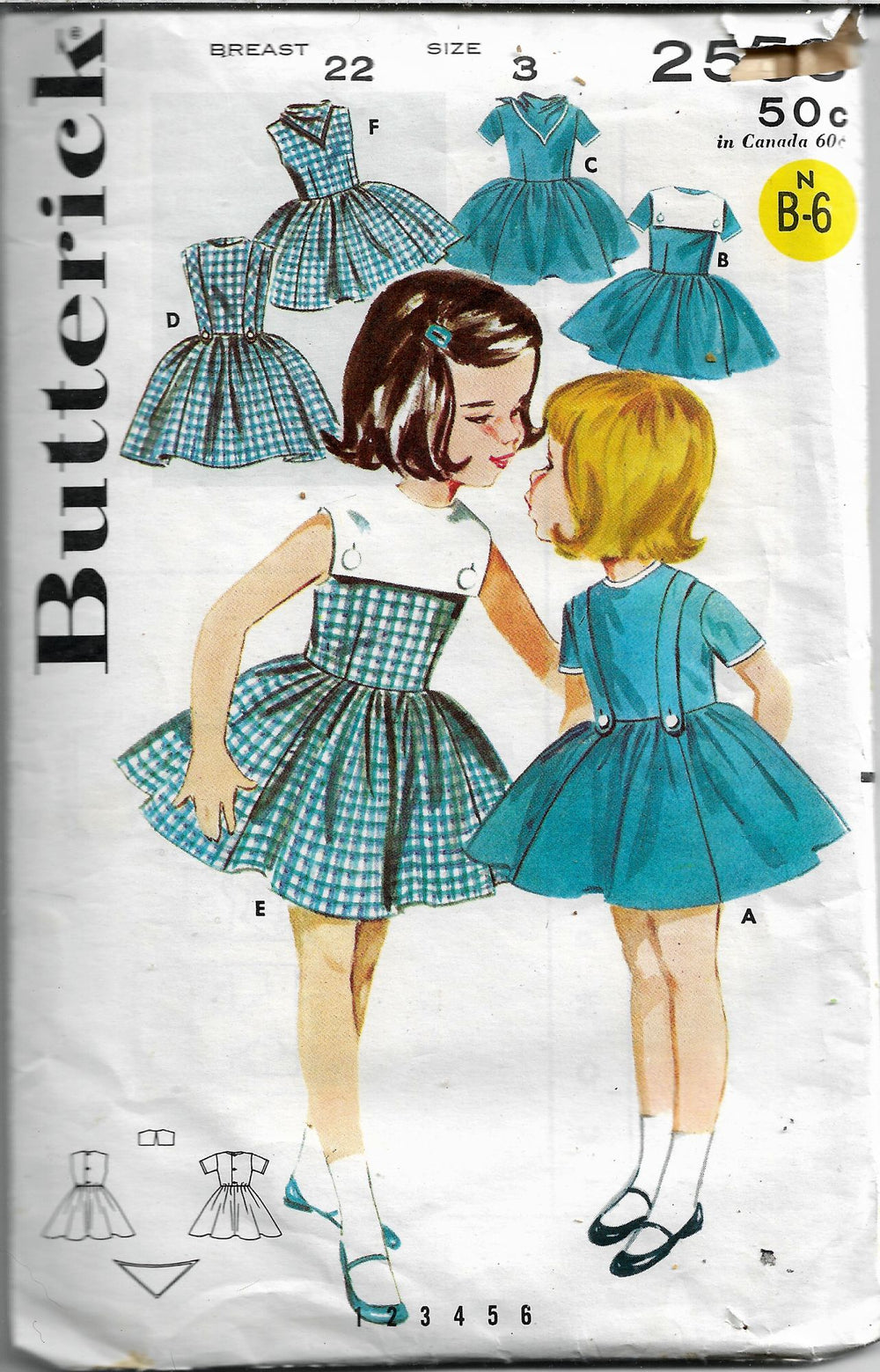 butterick 2553 girls basic dress vintage 1960s pattern