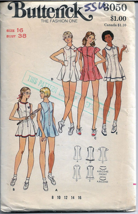 butterick 3050 tennis dress vintage pattern