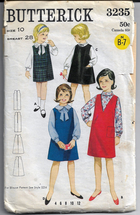 butterick 3235 jumper girls pattern 1960s