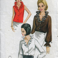 Butterick 3406 Ruffle Neck Blouse Vintage Sewing Pattern