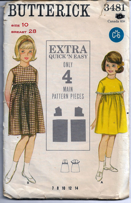 butterick 3481 girls dress vintage 60s pattern