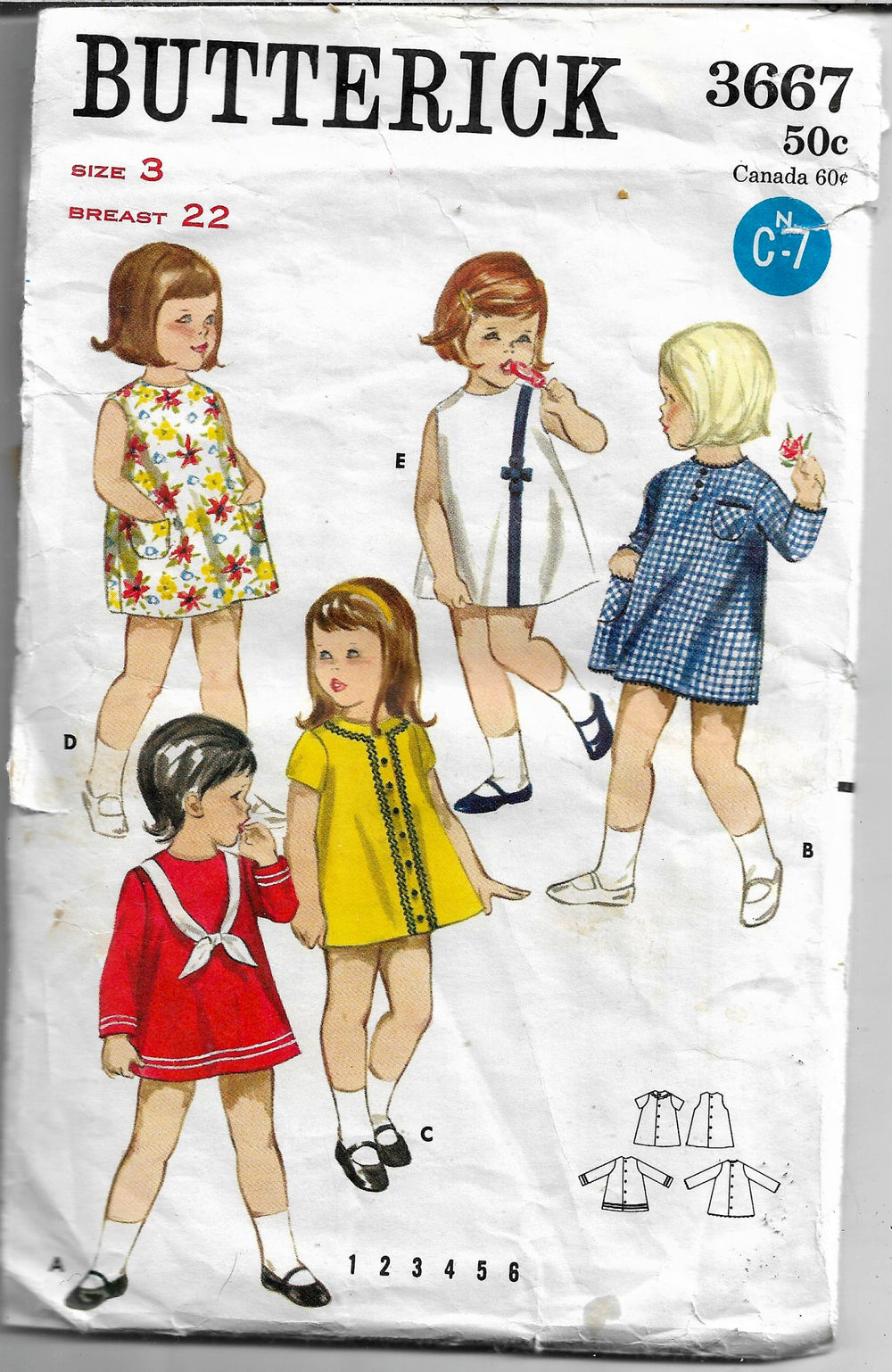 butterick 3667 quick dress vintage pattern 1960s