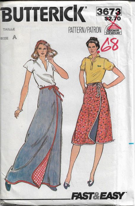 butterick 3673 skirt vintage pattern