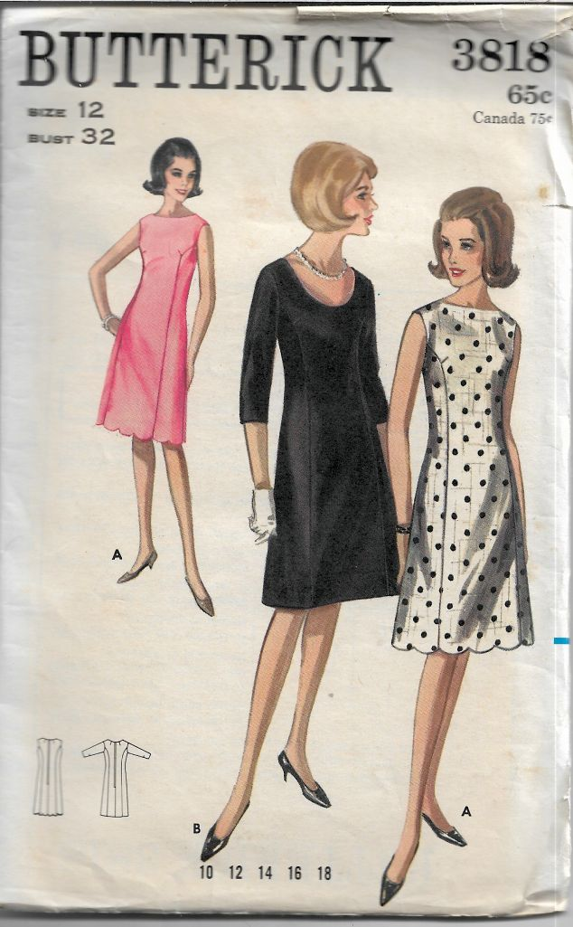 Butterick 3818 Semi Fitted Above Knee Dress Vintage Sewing Pattern
