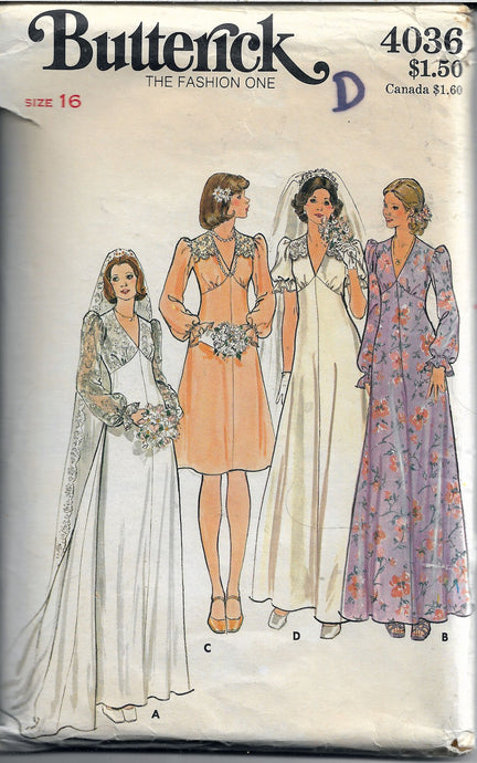 butterick 4036 wedding gown vintage pattern