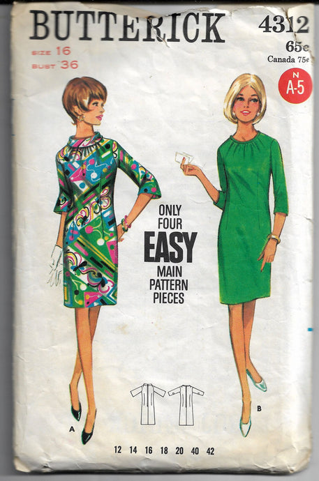 ladies dress butterick 4312 vintage pattern