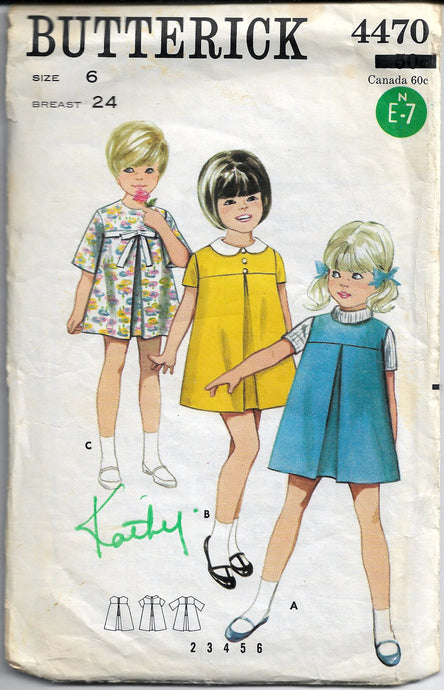 vintage butterick pattern 4470 1960s girls