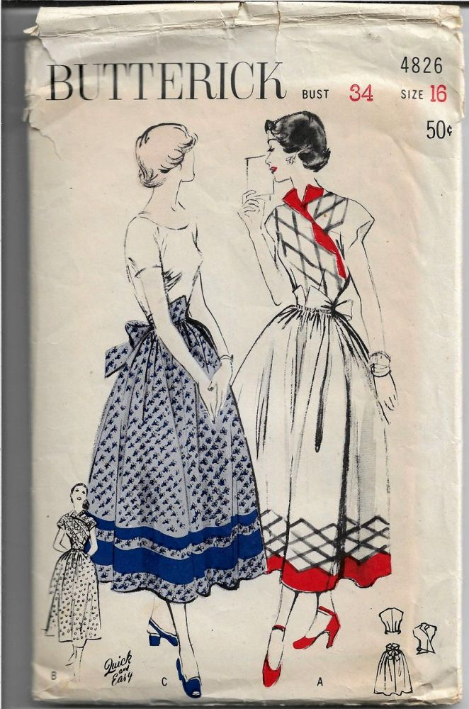 Butterick 4826 Ladies Dress Apron Vintage Sewing Pattern 1940s - VintageStitching - Vintage Sewing Patterns