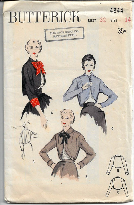 Butterick 4844 Vintage Pattern 1940's Saucy Bolero Cluch Jacket Large Collar Unprinted - VintageStitching - Vintage Sewing Patterns