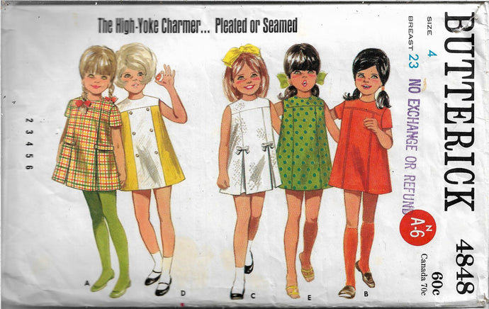 butterick 4848 childs dress vintage pattern