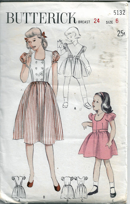 butterick 5132 girls dress vintage pattern 1950s