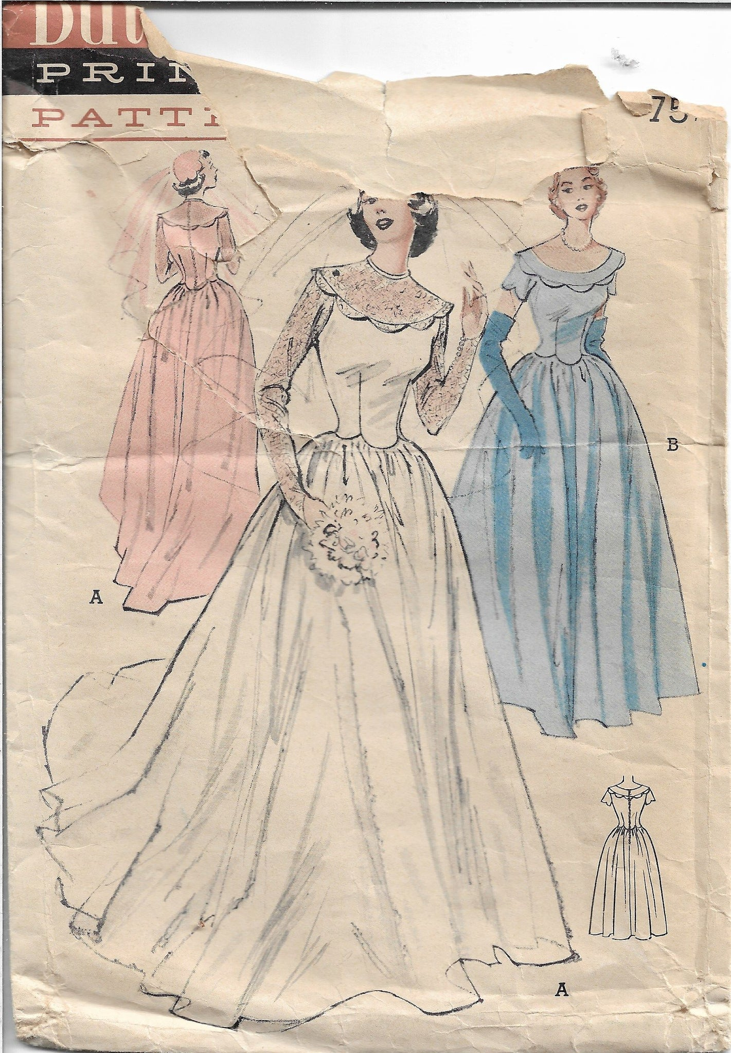 Butterick 5627 Wedding Gown Bridesmaid Vintage Sewing Pattern 1950s - VintageStitching - Vintage Sewing Patterns