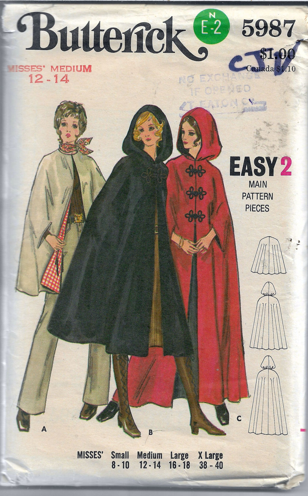 butterick 5987 ladies cape vintage pattern