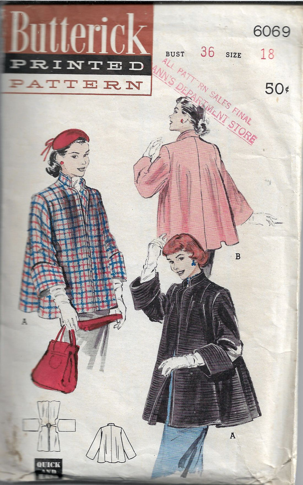 butterick 6069 vintage sewing pattern 1950s