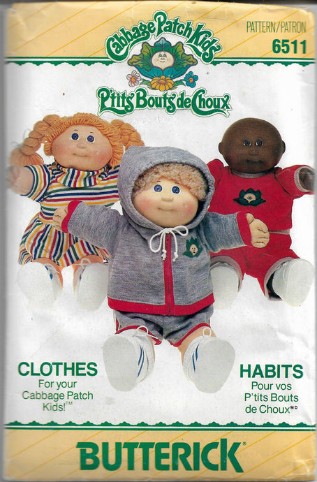 butterick 6511 cabbage patch kids pattern
