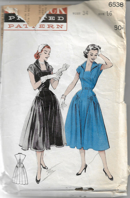 butterick 6538 vintage dress pattern 1950s