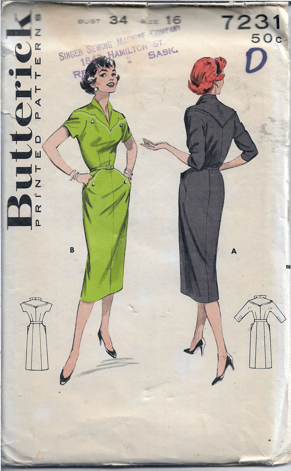 butterick 7231 casual dress vintage 50s pattern