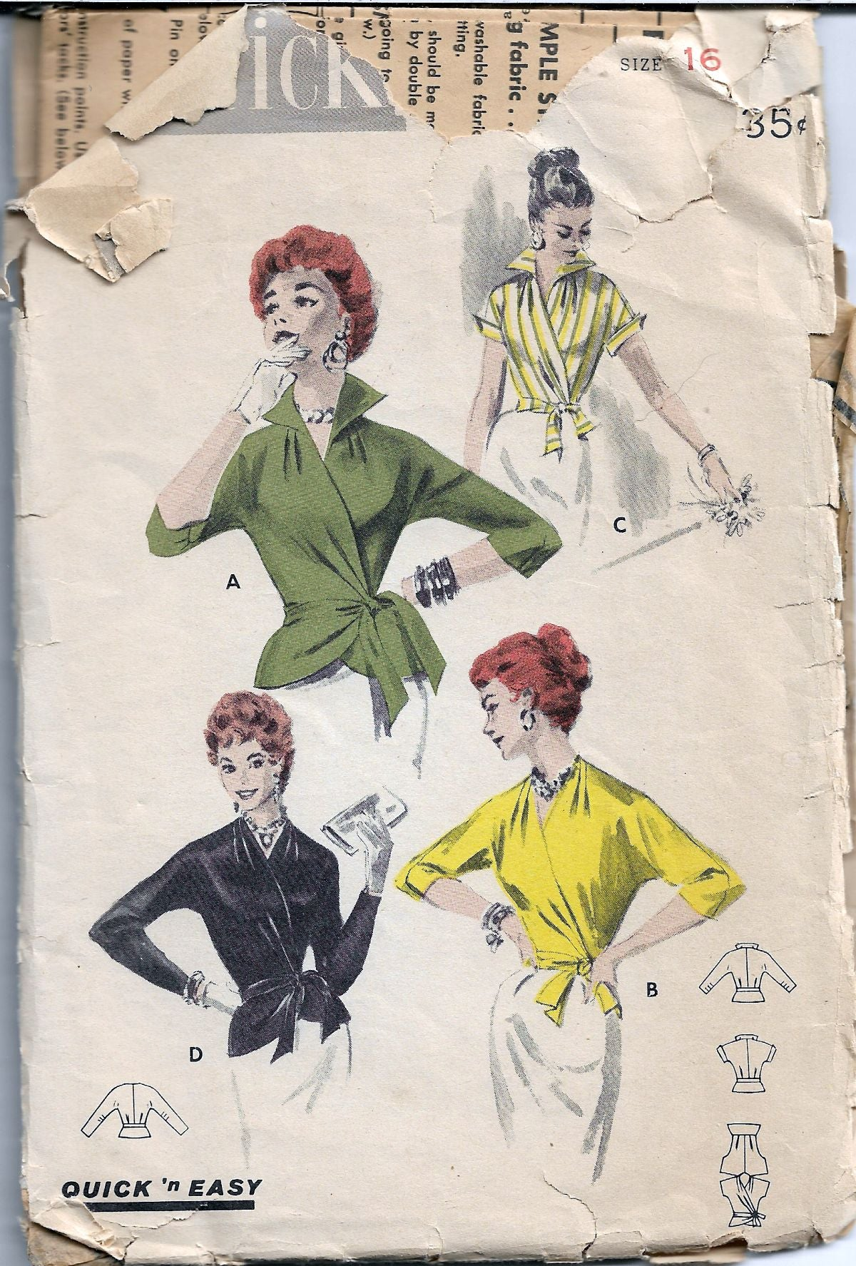 Butterick 7640 Wrap Blouse Vintage Sewing Pattern