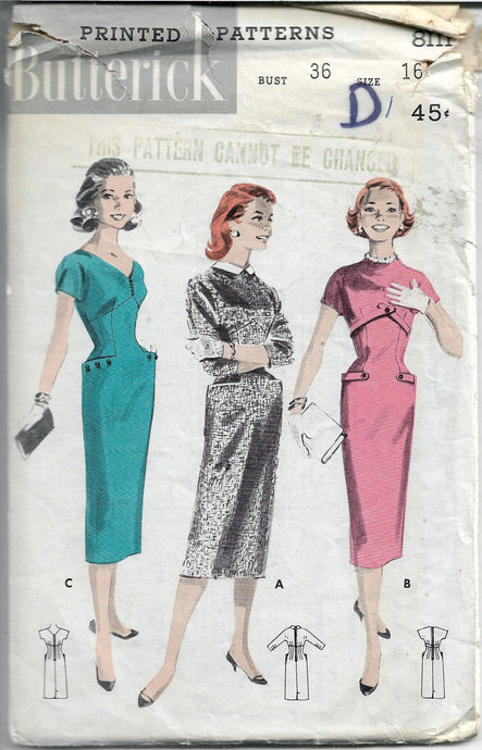 butterick 8111 sheath dress vintage pattern