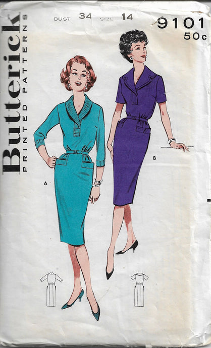 butterick 9101 wiggle dress vintage pattern