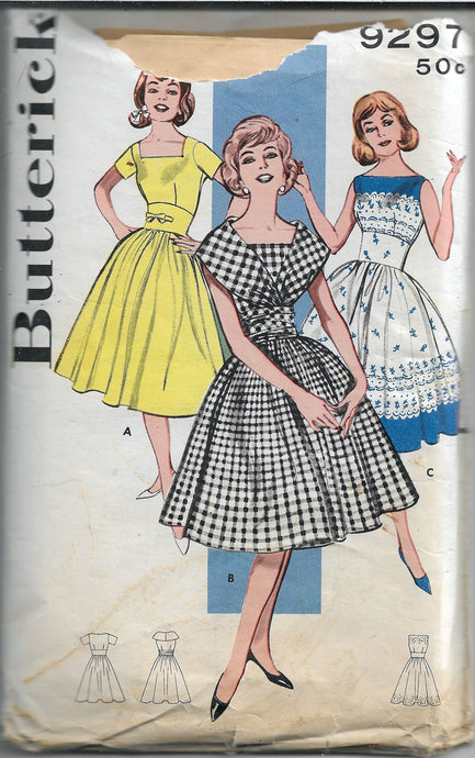 butterick 9297 dress vintage pattern 1960s