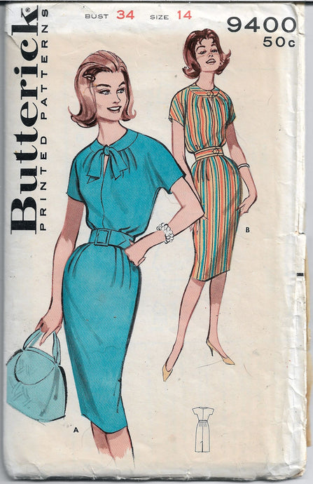 butterick 9400 sheath dress vintage pattern