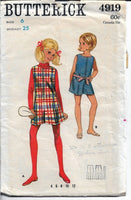Butterick 4919  Girls Pantdress Jumper Dress Pantjumper Vintage 1960's Sewing Pattern - VintageStitching - Vintage Sewing Patterns