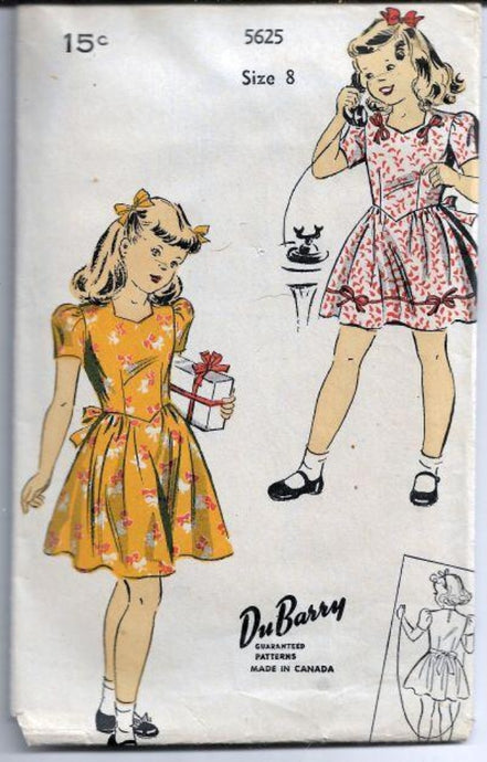 DuBarry 5625 Girls Shortie Play Dress Vintage Sewing Pattern 1940s - VintageStitching - Vintage Sewing Patterns