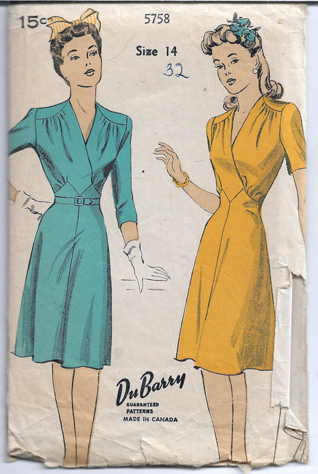 dubarry 5758 dress vintage pattern 1940s