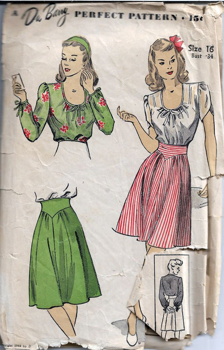 DuBarry 5836 Ladies Scoop Neck Blouse Skirt Vintage Sewing Pattern