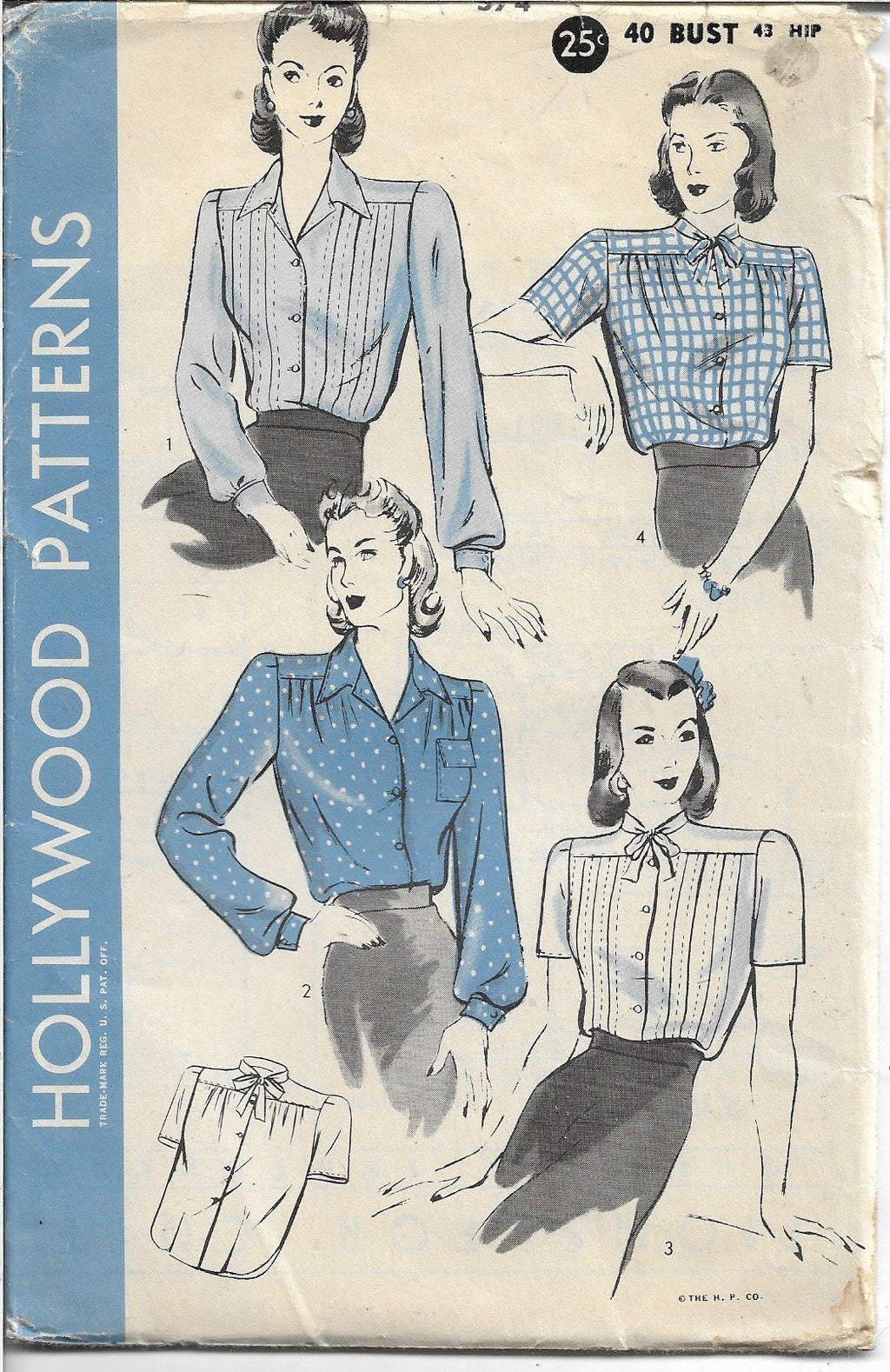 Hollywood 574 Ladies Blouse Vintage Sewing Pattern 1940s - VintageStitching - Vintage Sewing Patterns