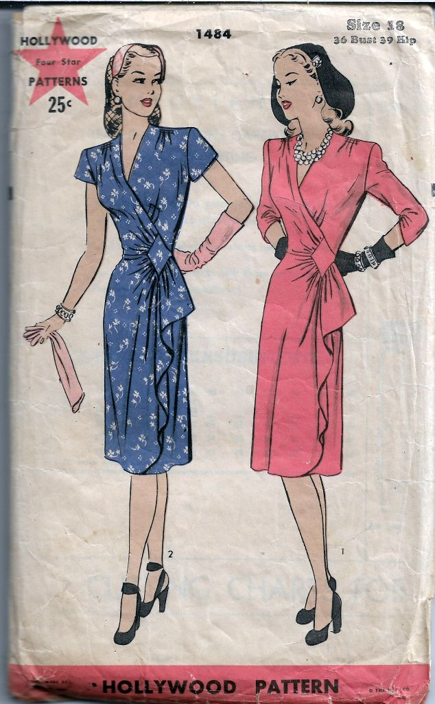 Hollywood 1484 Ladies Wrap Dress Vintage Pattern