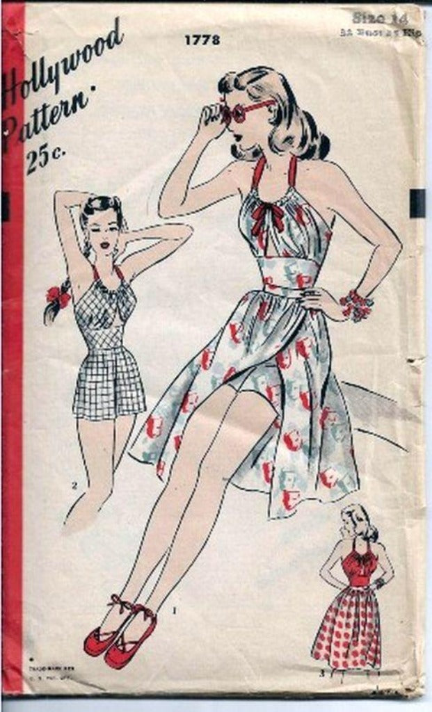 Hollywood 1778 Vintage 1940s Sewing Pattern Rare Playsuit Shorts Skirt Bra - VintageStitching - Vintage Sewing Patterns