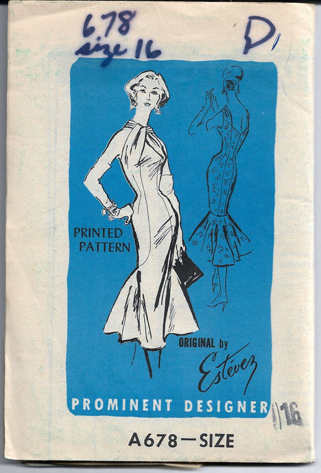 mermaid dress vintage 1950s mail order pattern