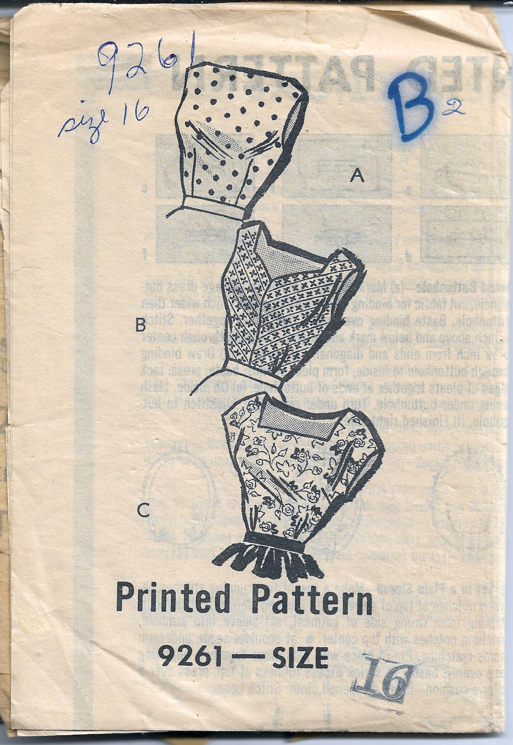 mail order 9261 vintage blouse pattern