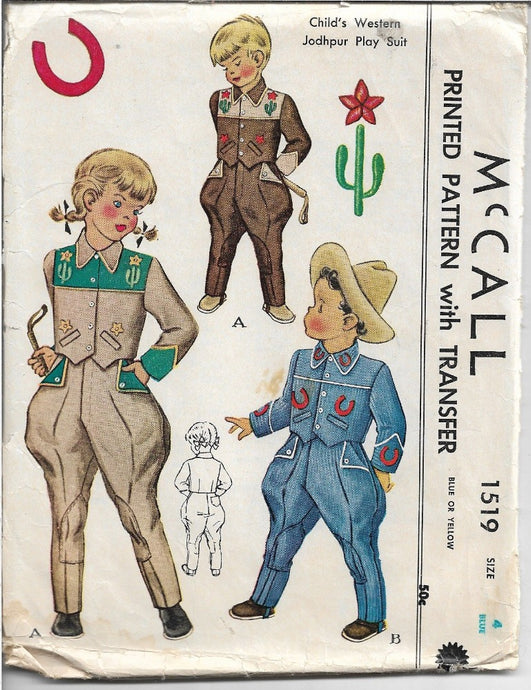 McCall 1519 Childs Western Cowboy Play Suit Jacket Vintage Sewing Pattern 1940s - VintageStitching - Vintage Sewing Patterns