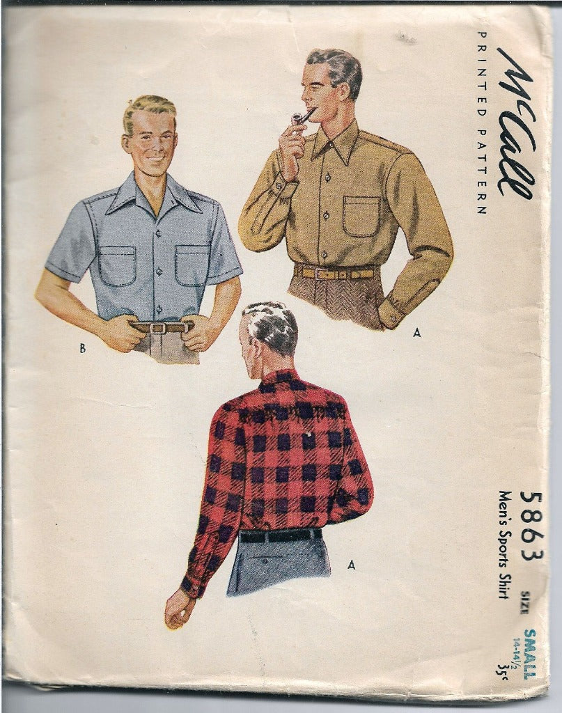McCall 5863 Mens Sport Shirt Vintage Sewing Pattern 1940s - VintageStitching - Vintage Sewing Patterns