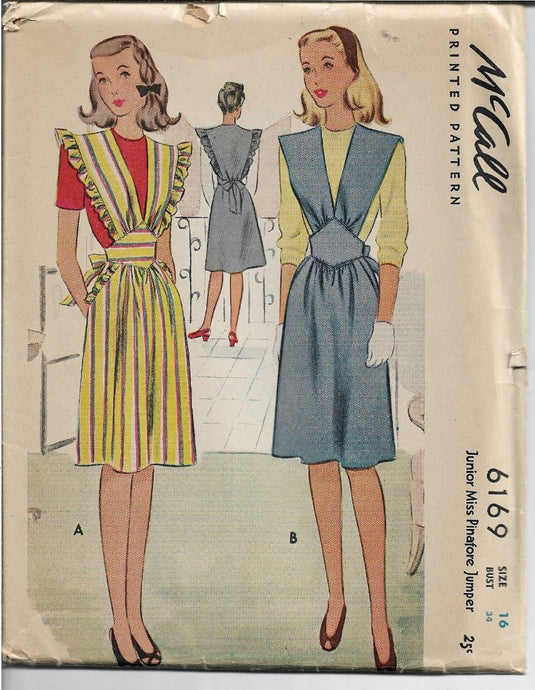 McCall 6169 Junior Miss Jumper Dress Pinafore Vintage Sewing Pattern 1940s - VintageStitching - Vintage Sewing Patterns